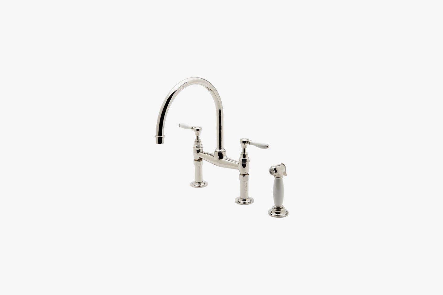 The Waterworks Easton Vintage Bridge Gooseneck Kitchen Faucet in shiny copper is $