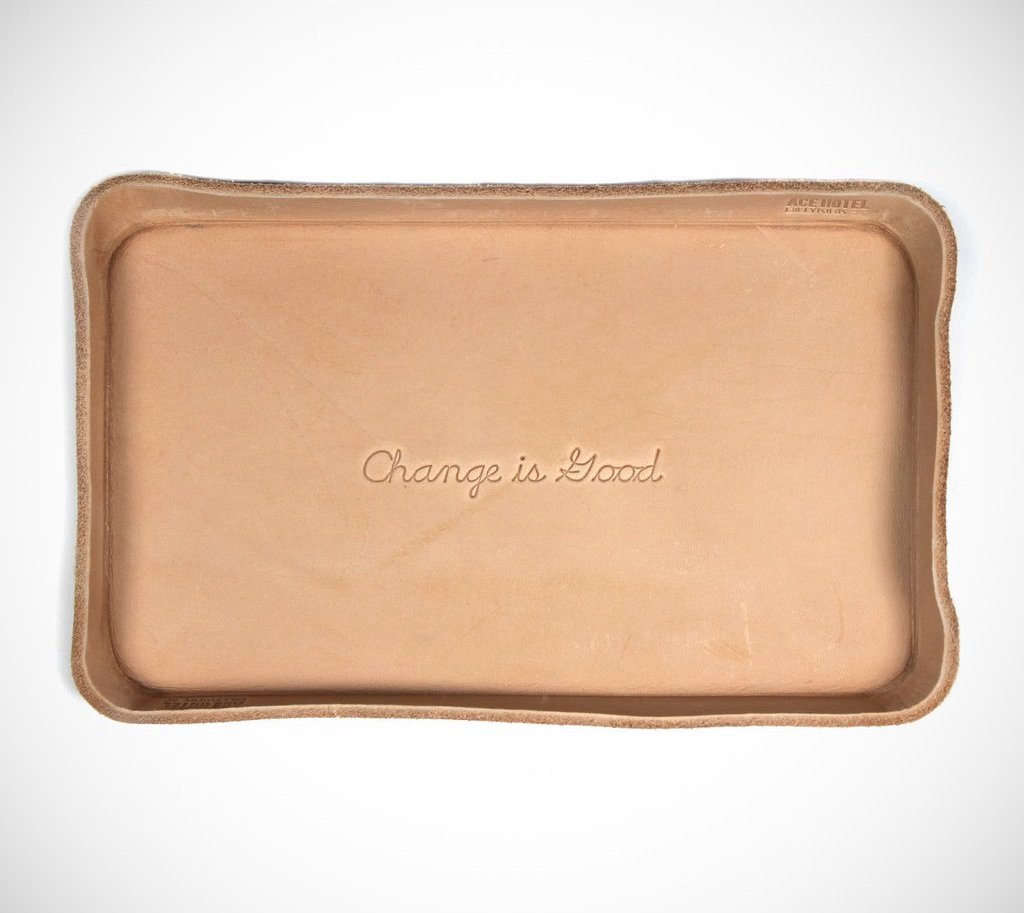 Can you think of a dad who's not a dork for wordplay? I can't. This Change Is Good Tray is handmade in Los Angeles of vegetable-tanned leather that's molded, stitched, and branded by Billykirk for Ace Hotel; $35.