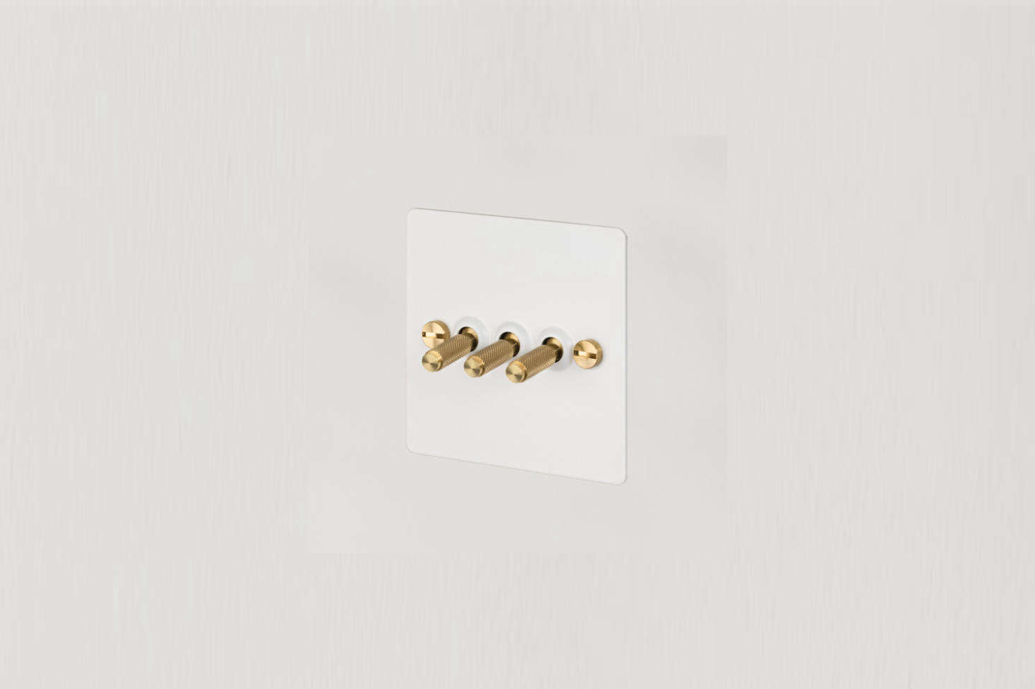Lights throughout the kitchen operate by way of Buster & Punch 3G Toggle Switches in White and Brass; £69 each.