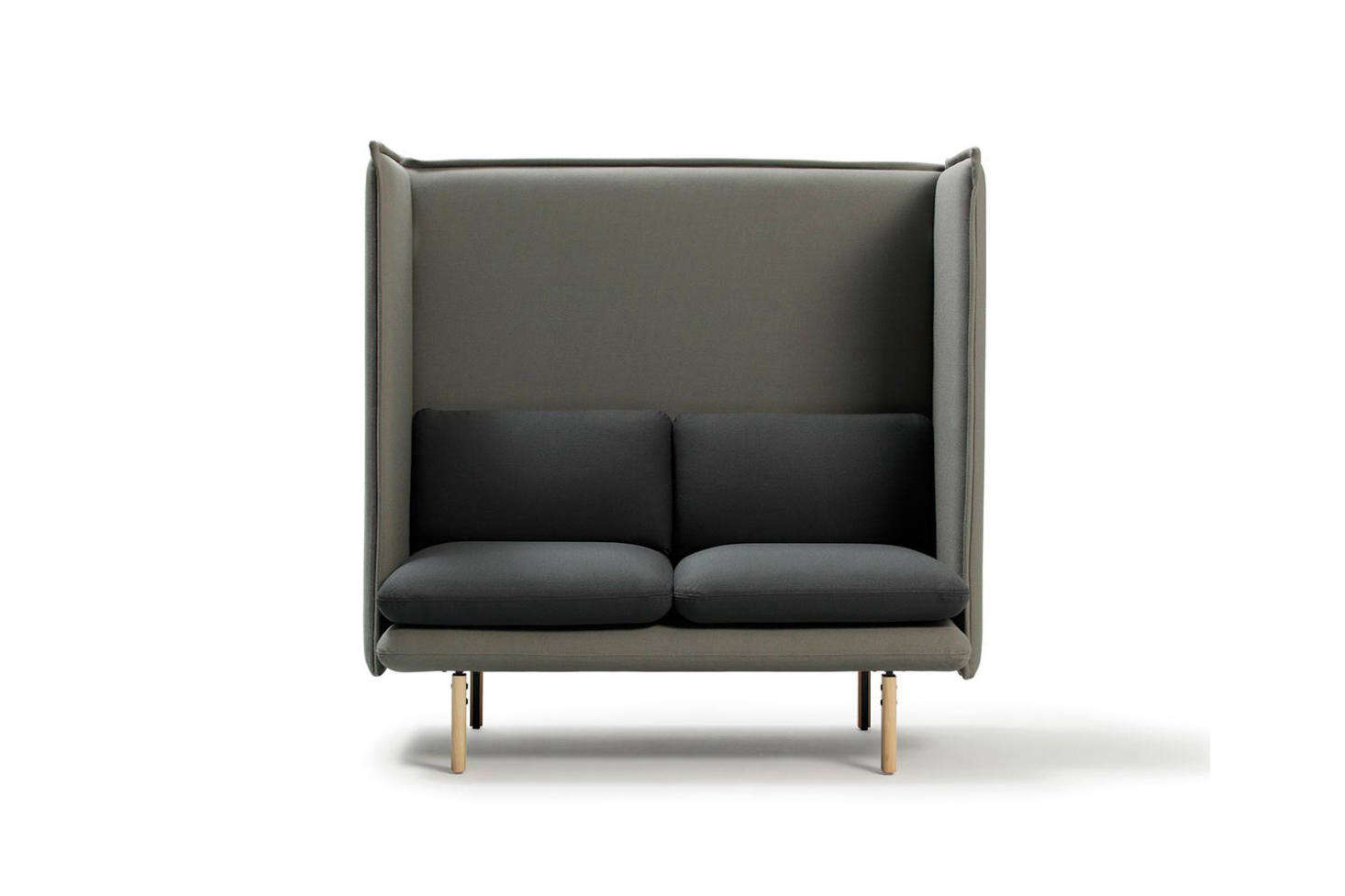 "Spanish company Sancal makes the REW Highback Sofa as a single two-seater (shown), and three-seater bench. The sofa is made with an upholstered seat and high frame to ""provide some privacy,"" with lacquered steel or ash feet. Prices start from €1,595.99 at Domestico Shop or ordered directly from Sancal in Spain."