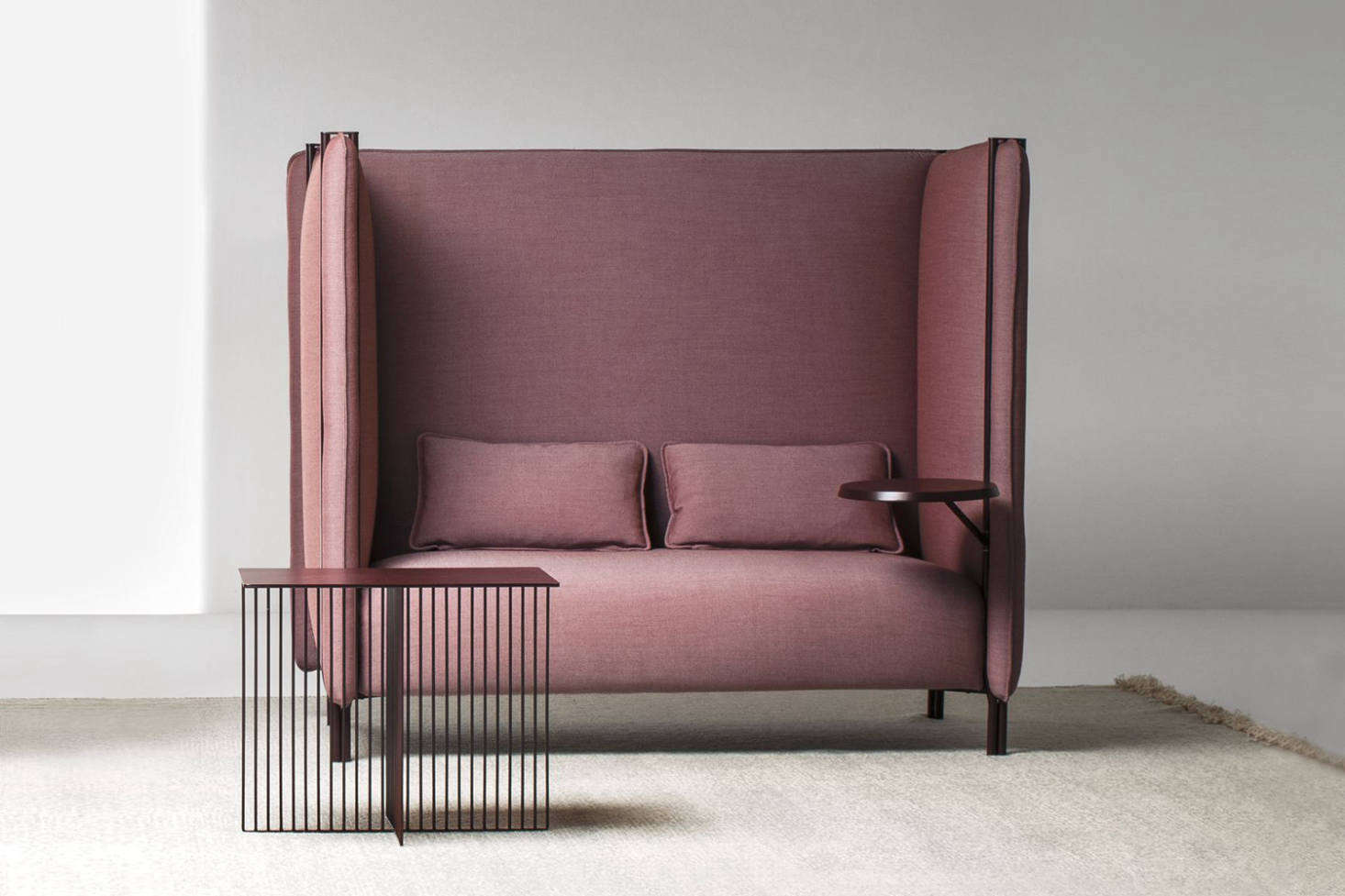 The LaCividina Pinch Divano Sofa by Skrivo Design is made with an upholstered and lacquered metal frame and comes in different configurations (shown as a high back two-seater with an additional table). Prices start at €5,519 at Mohd in Italy or ordered through LaCividina.