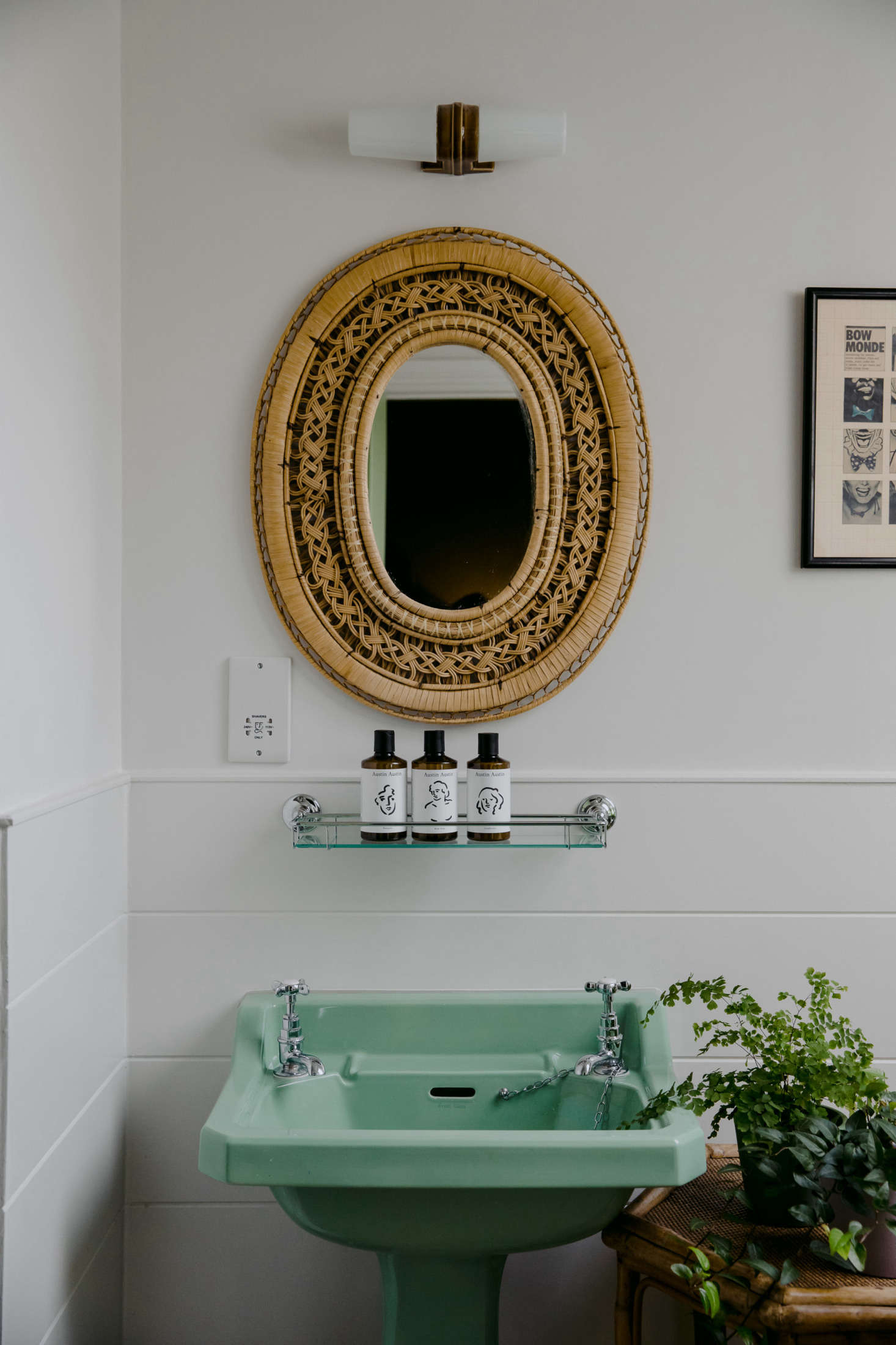 Green is a leitmotif throughout The Rose hotel in England, including in this guest bath, which features a retro mint sink and matching toilet. Photograph by Seth Carnill, from Steal This Look: A Retro Bath on the English Seaside.