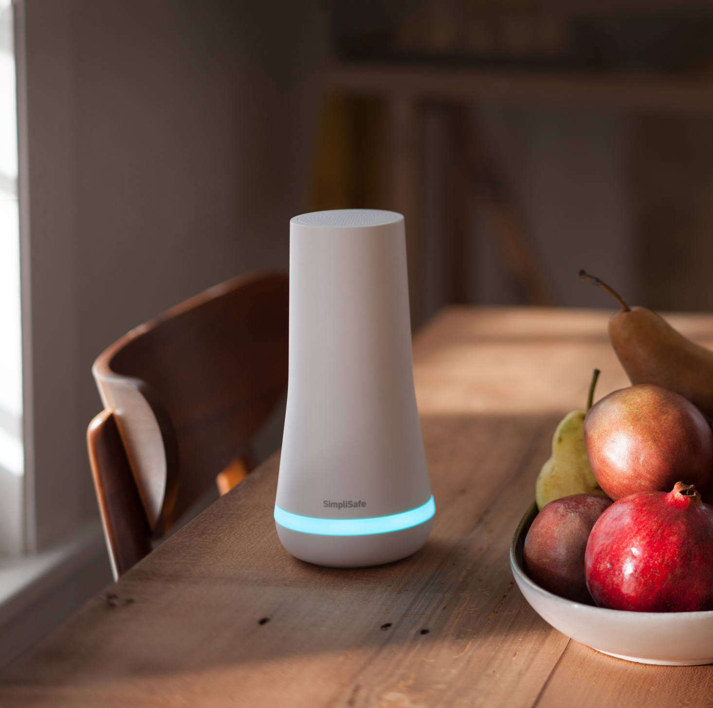 All SimpliSafe systems come with a base station (shown). The sensors and keypad communicate with the base station. If someone tries to break in, your base station alerts SimpliSafe's monitoring center, then sounds a loud siren.