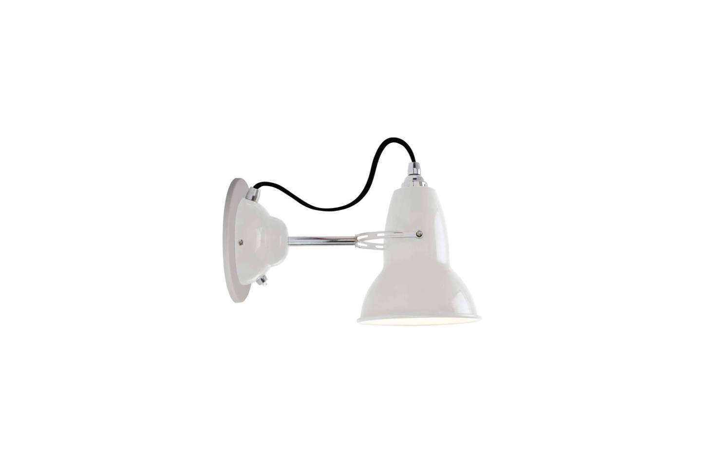 The Anglepoise Original 1227 Wall Light in White with chrome and colored cable; $170 at Horne.