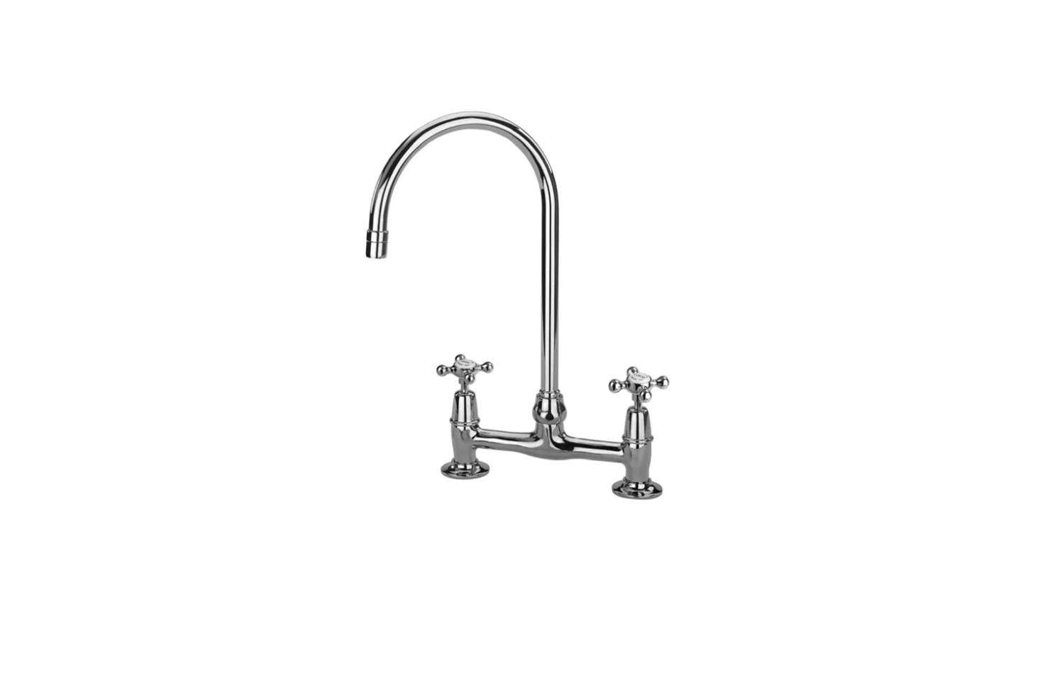 The kitchen faucet is a Barber Wilsons Bridgemaster Kitchen Faucet with Side Spray in unlacquered brass; $