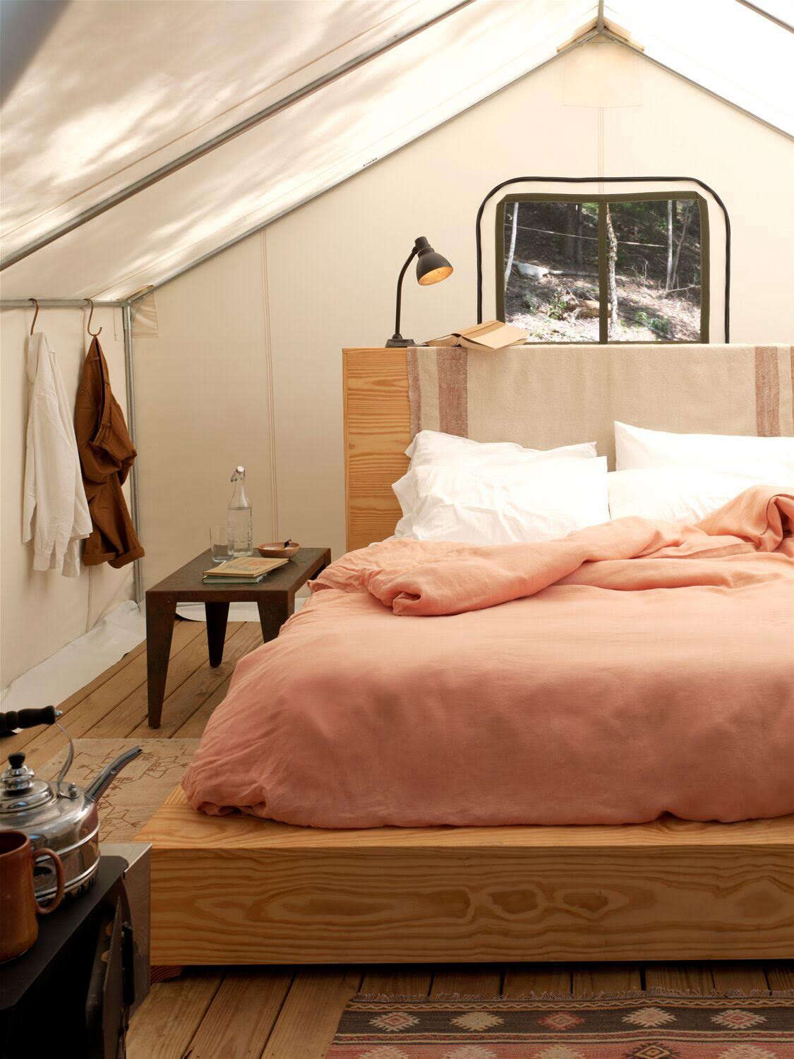 Jesse And The Aesthetic Movement Team Furnished The Tents With Custom Pine  Platform Beds (the