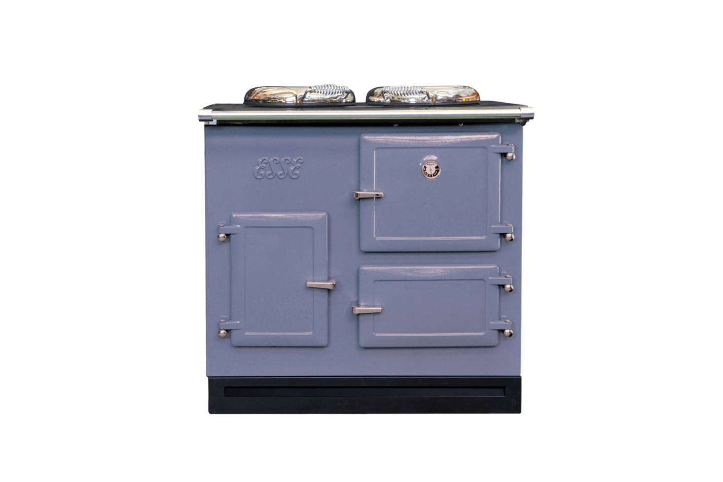 The cast iron Esse Cooker from England is available in a range of color options and oven combinations. The Esse CAT 905mm Flueless Gas Cooker, shown, is priced around £5,900 through Walter Dix & Co., who also offer display ovens for a lesser price. The ovens can be sourced directly through Esse as well.