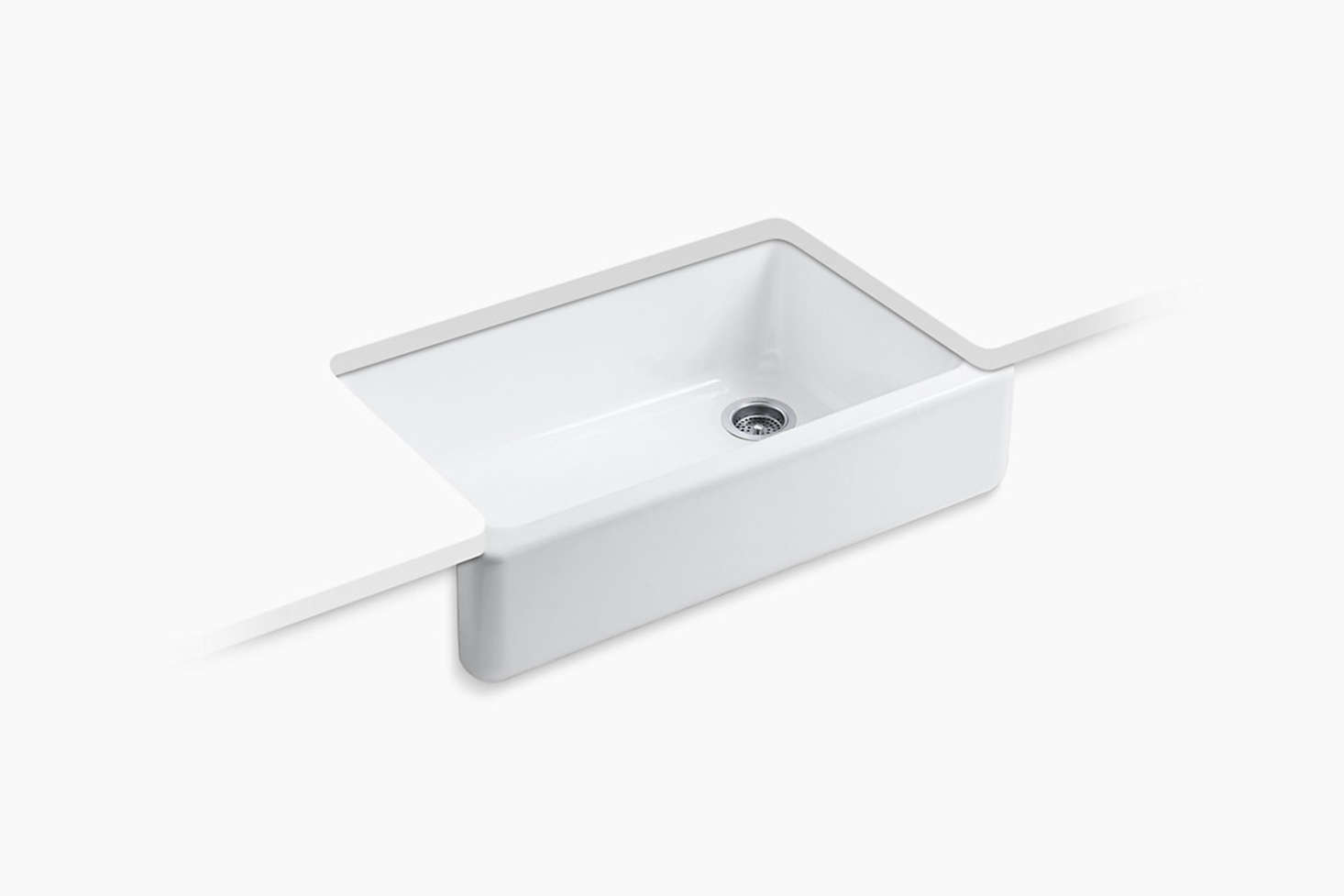 The farmhouse sink is the Kohler Whitehaven Self-Trimming Under-Mount Sink for $src=