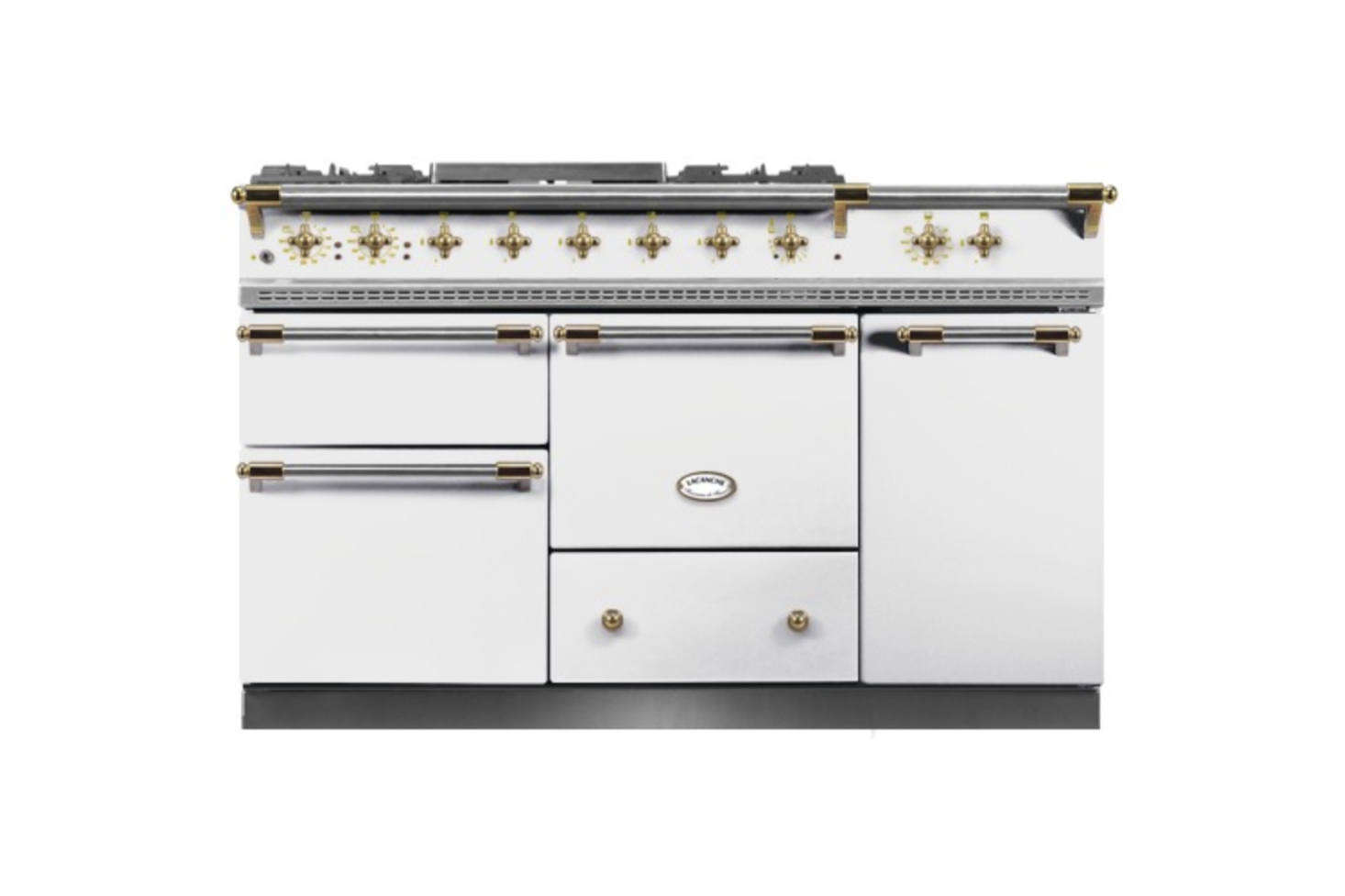 The range is a French Lacanche Chagny 00 Range in ivory and brass hardware. It can be ordered directly through Lacanche. For more on ranges like this, see  Easy Pieces: Retro Kitchen Ranges.