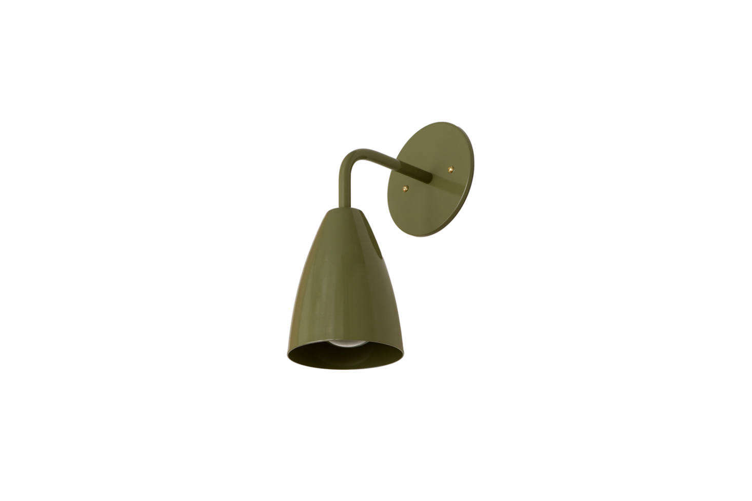 From OneFortyThree, the Shaded Sconce in Solid Colors (shown in Cactus) is $155 directly from OneFortyThree.