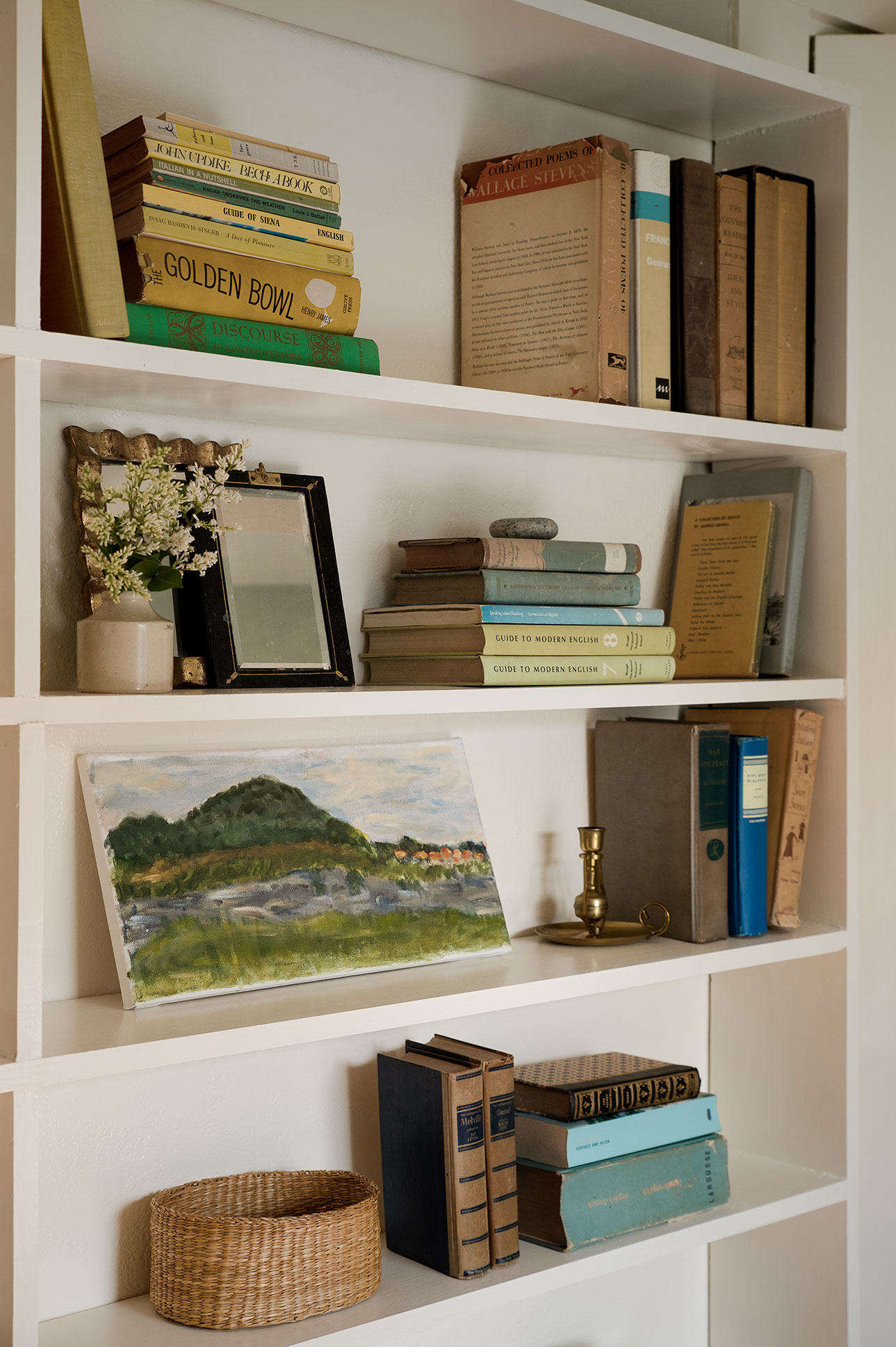 A few volumes and a landscape study by her daughter survived a decluttering bender in Julie&#8