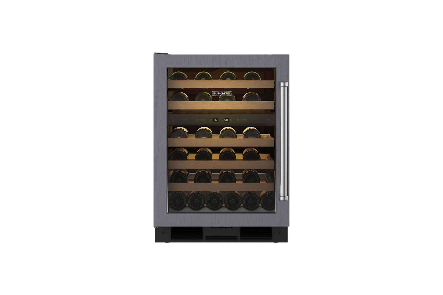 At the end of the counter is a SubZero -Inch Undercounter Wine Refrigerator. Available at AJ Madison; contact for pricing and more information.