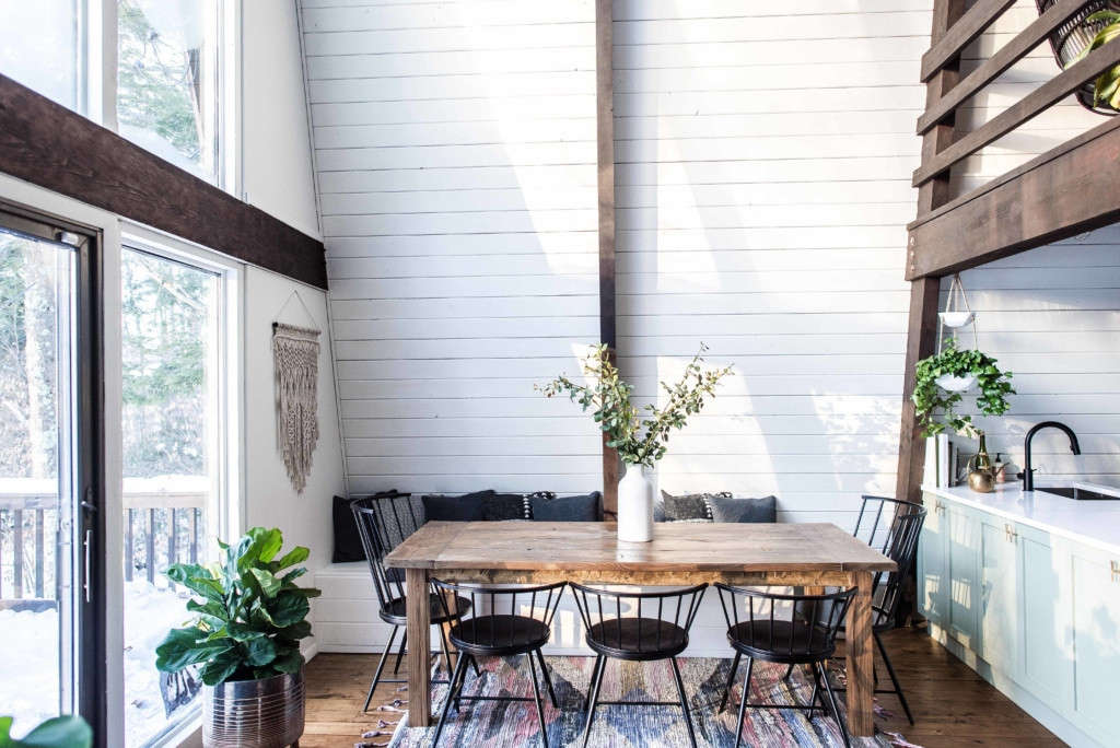 """""""This dining table (and built-in bench) is our proudest DIY effort. We couldn't find any table that fit the space and made any sense (or was anywhere near reasonably priced), so we made one ourselves."""""""