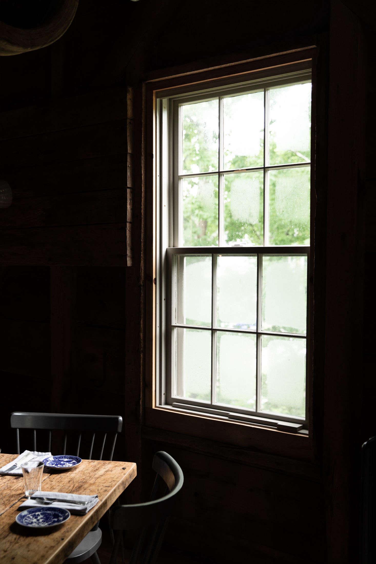 Maine fog on the mill windows.