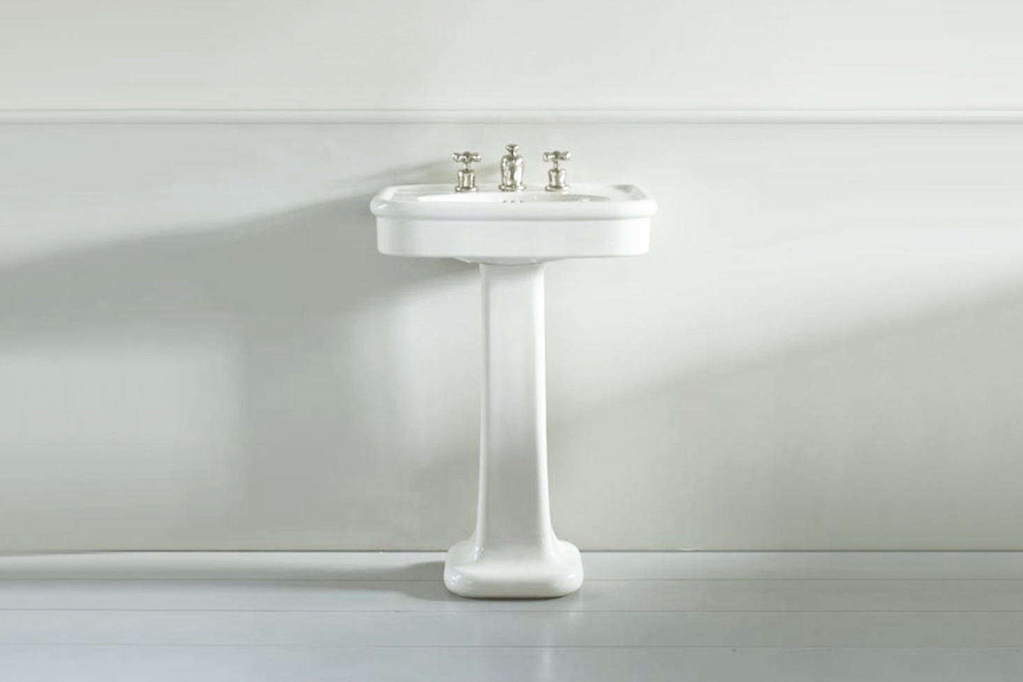 For the baths at The Rose, the designers sourced and restored colorful vintage sanitary ware like the mint green pedestal sink and toilet. For a similar off-the-shelf option, The Water Monopoly in the UK makes the Rockwell Basin on a Pedestal in white and three colors, including Willow, a sage-mint green; £9 at the Water Monopoly. For more on the company, see our postRetro Bath Fixtures in Retro Colors from the Water Monopoly.
