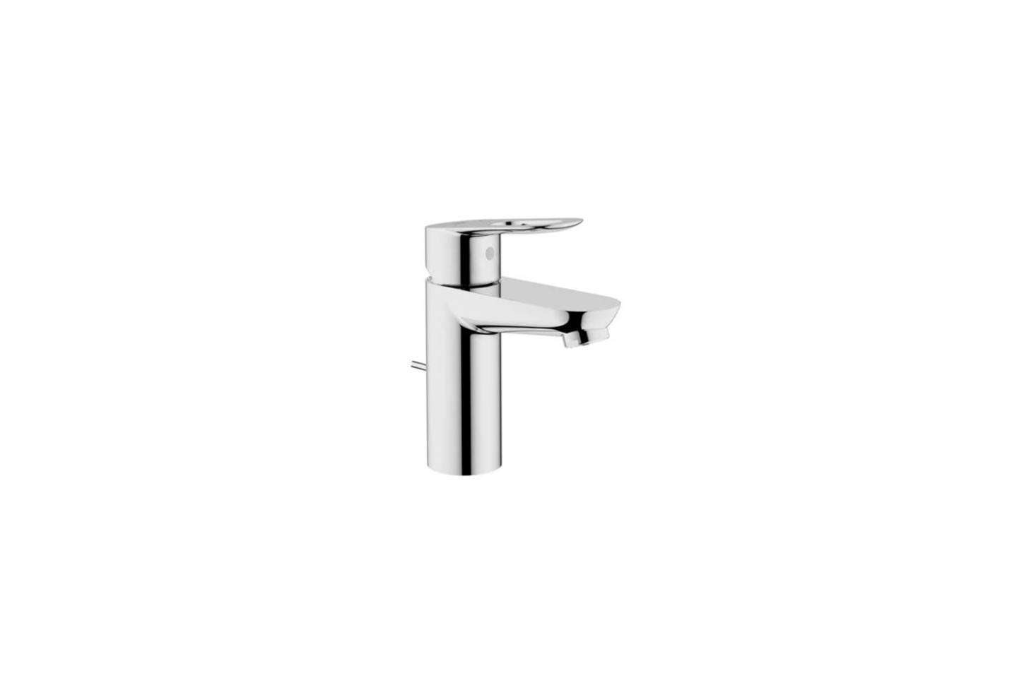 The bathroom sink faucet is the Grohe Starlight Chrome BauLoop Single Hole Bathroom Faucetfor $104.35 at Faucet Direct.