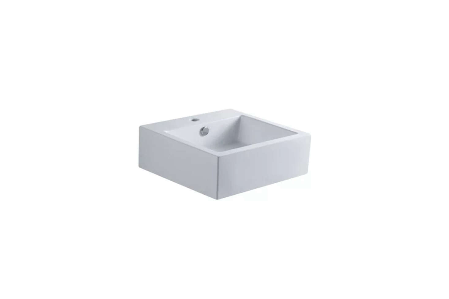 The basin is a Kingston Brass 18-Inch White Sierra Square Bath Sinkfor $192.83 at Faucet Direct.