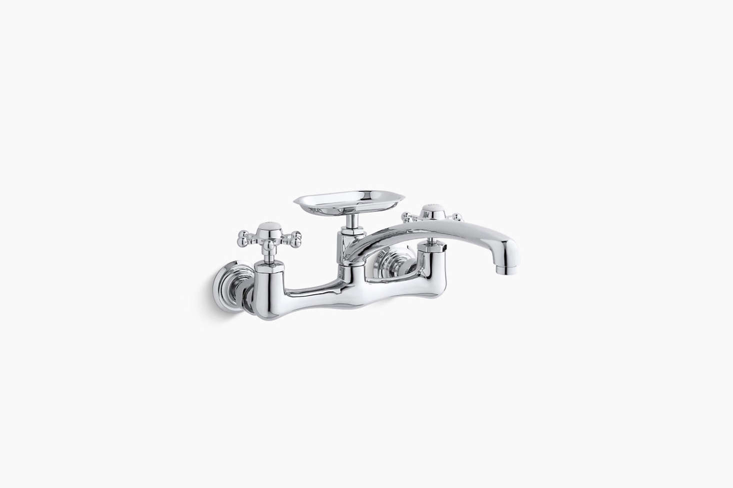 Picture of: Kuche 2 Handle Wall Mount Kitchen Faucet With Soap Dish In Chrome Ngrt In