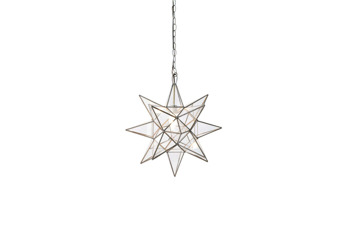 For a similar glass star pendant, consider the Petite Moravian Star Pendant in Bronze with Clear Glass;$248 at Shades of Light.