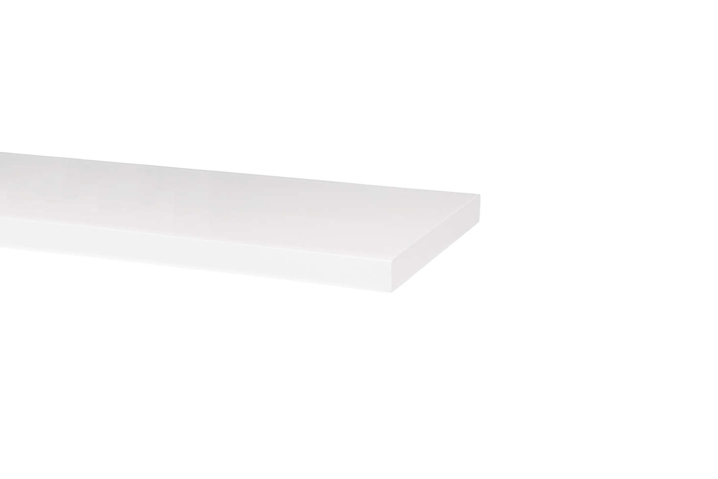 For similar white floating shelves, the White Lacquer Shelf is available in eight- and -inch lengths starting at $39 (currently on sale) at Rejuvenation.