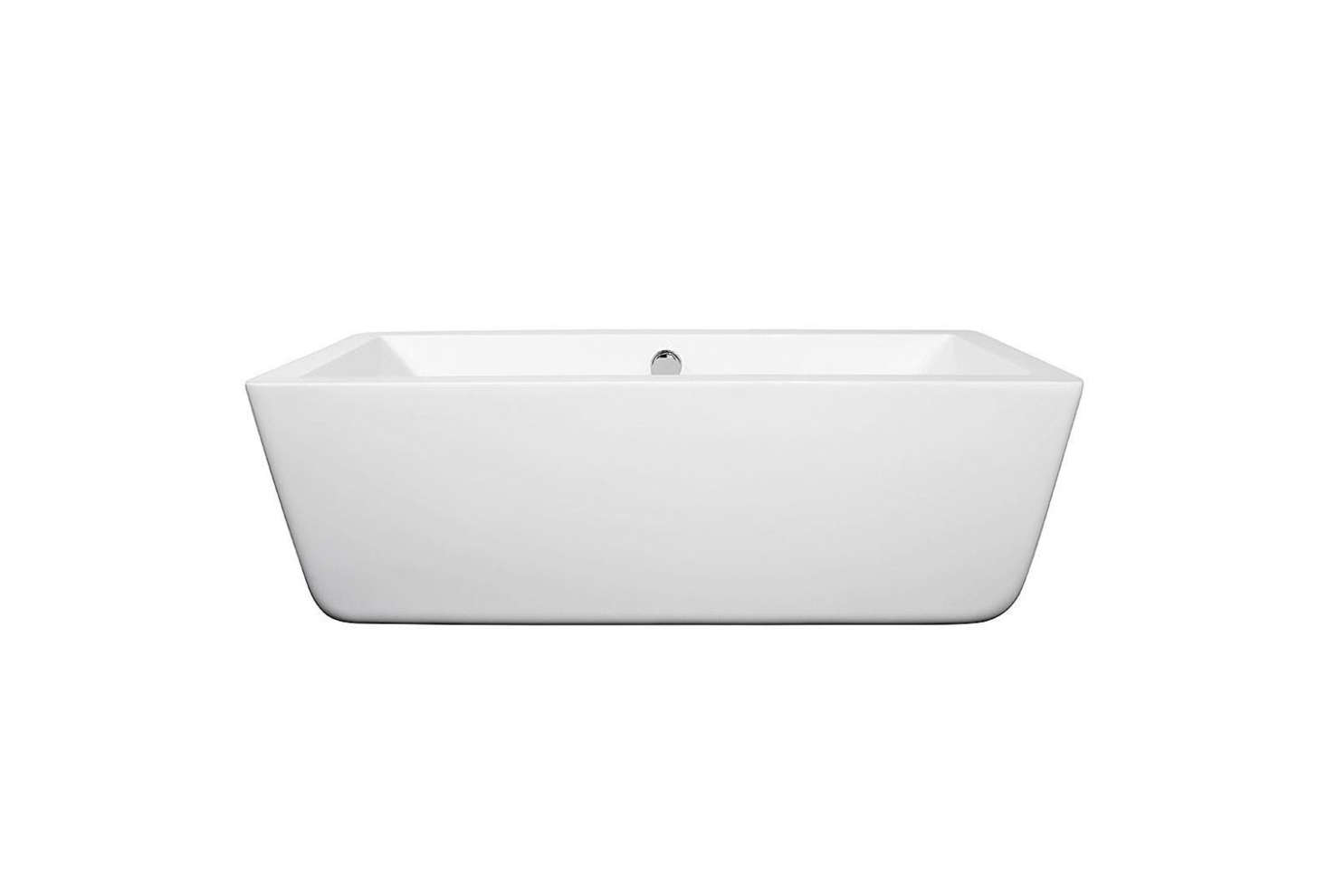 To fit a tub into the small end of the bathroom, Greif special-ordered the5.58-Foot Wyndham Collection Laura Soaking Tub for $948.99 at Home Depot.