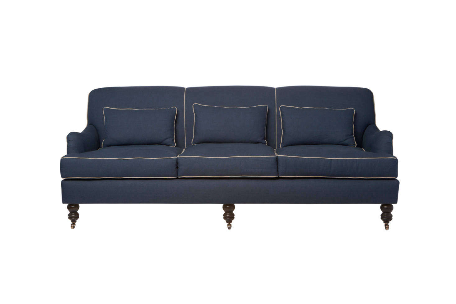 Another, more ornate style from Cisco Brothers, the Beaumont Sofa has roll arms, legs on casters, and piping. Contact Cisco Brothers for price and dealer information. It can also be found for $3,815 at Collyer's Mansion.
