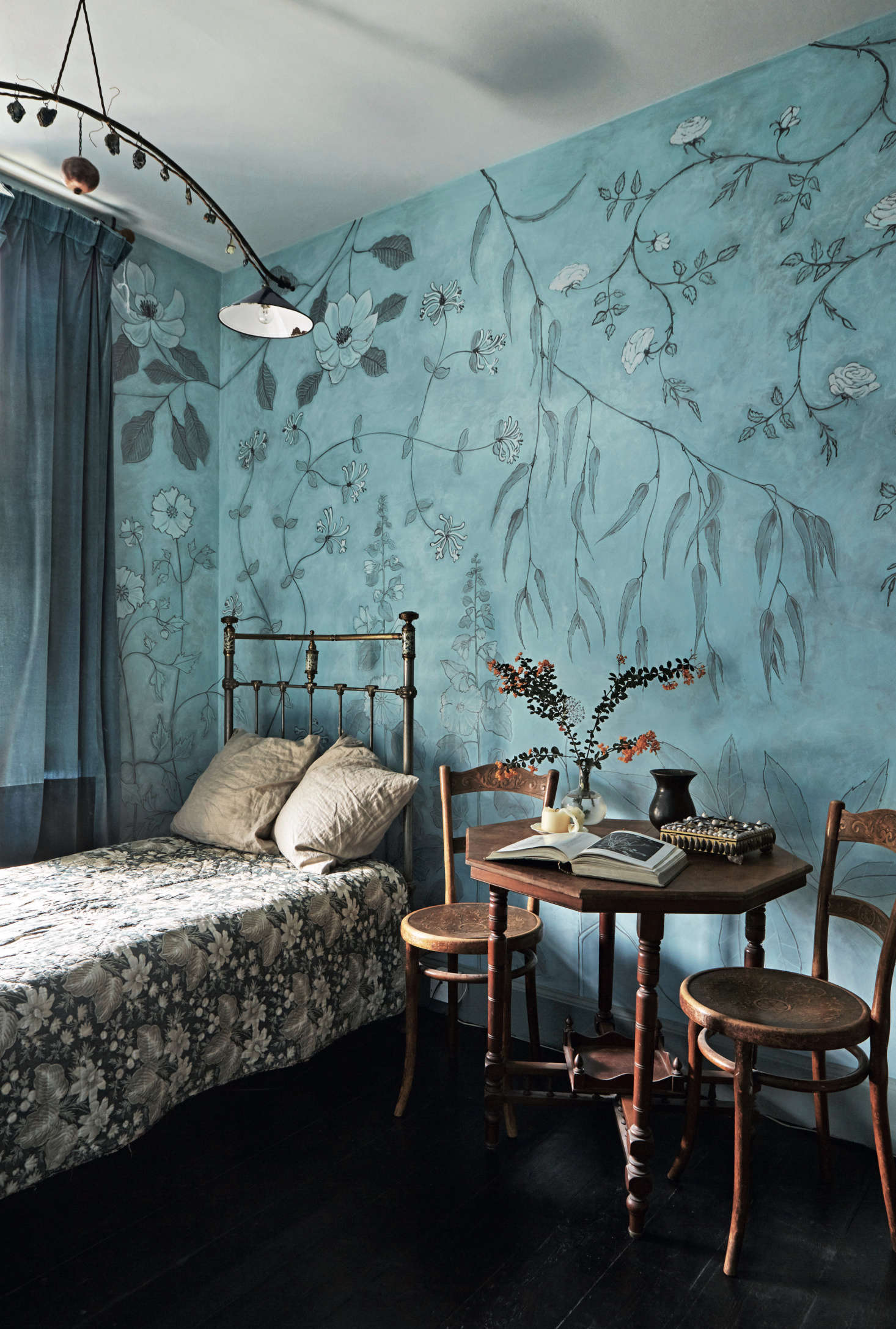 David and Anita's daughter described the wallpaper she had in mind for her room, and when they couldn't find it, David painted it himself. See more of his work at David Campbell and inPerfect English Townhouse.