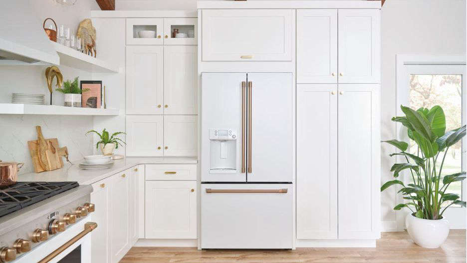 The GE Café Energy Star 23.1 Cu. Ft. Counter-Depth French-Door Refrigerator is $3,299. The Café Stainless Interior Built-In Dishwasher with Hidden Controls (not shown) is $1,749.