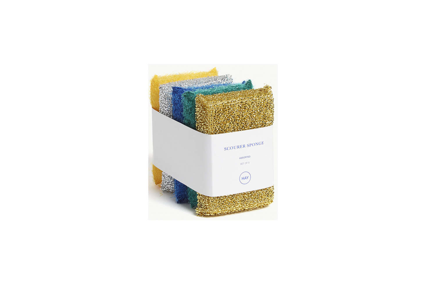 Hay makes Metallic Scourer Sponges in range of tones exclusively for Selfridges; £8 for a set of five.