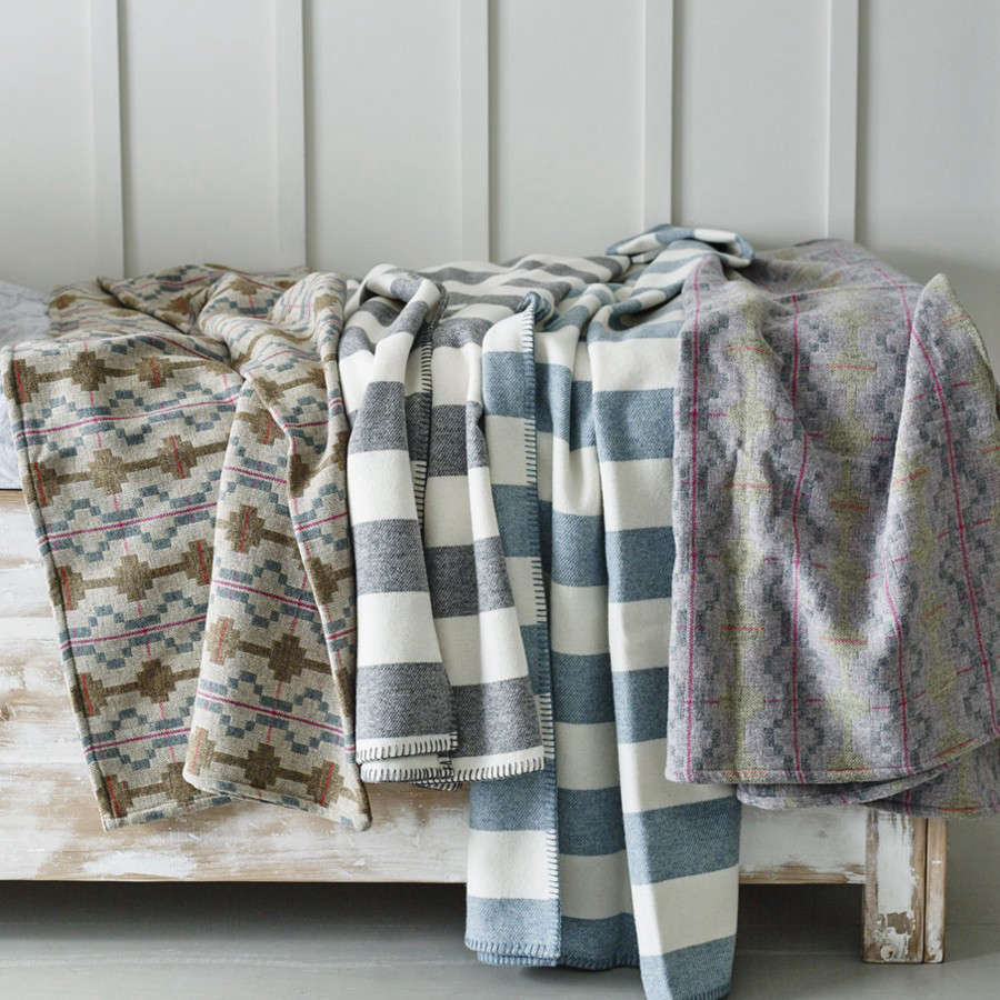Welsh Coast: Traditional Wool Blankets in Unexpected Palettes from Melin Tregwynt
