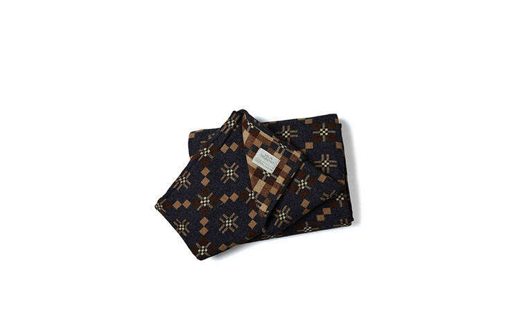 The reversible St. Davids Cross Throw in Slate from Another Country is based on an early th-century Shaker pattern, and has a deep charcoal pattern on one side, and a lighter pale peach and rust on the other;£8.0src=