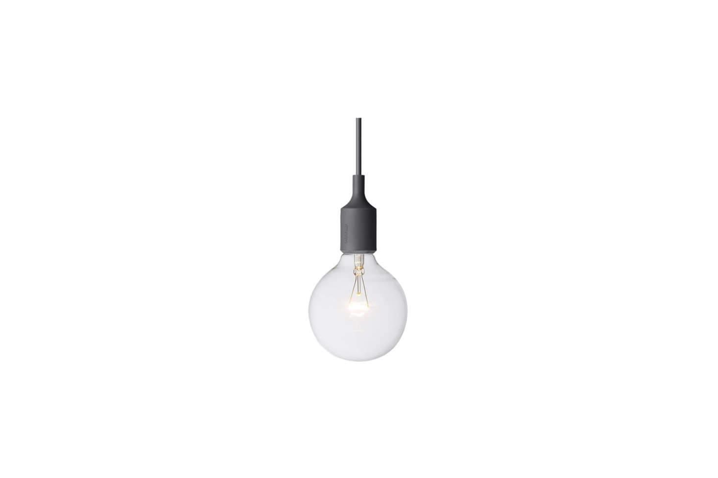 Anstruther hung a trio of Muuto E27 Ceiling Light Fixtures in black ($79 each from YLighting) over her kitchen island.