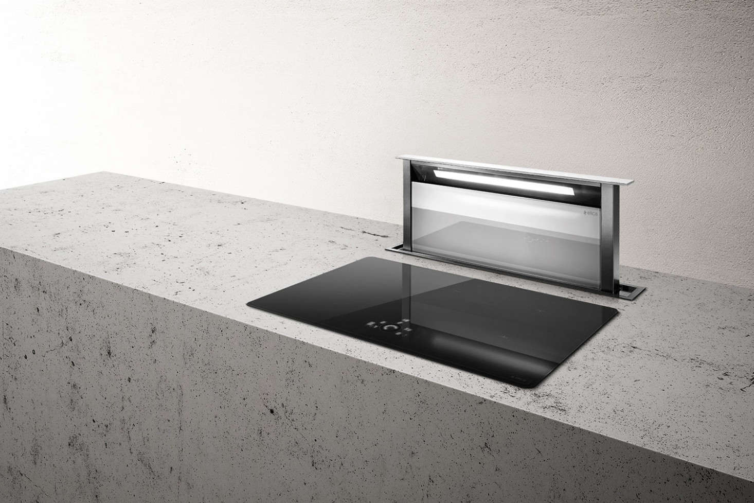 The adagio vista downdraft range vent from elica has a touch control interface and comes in