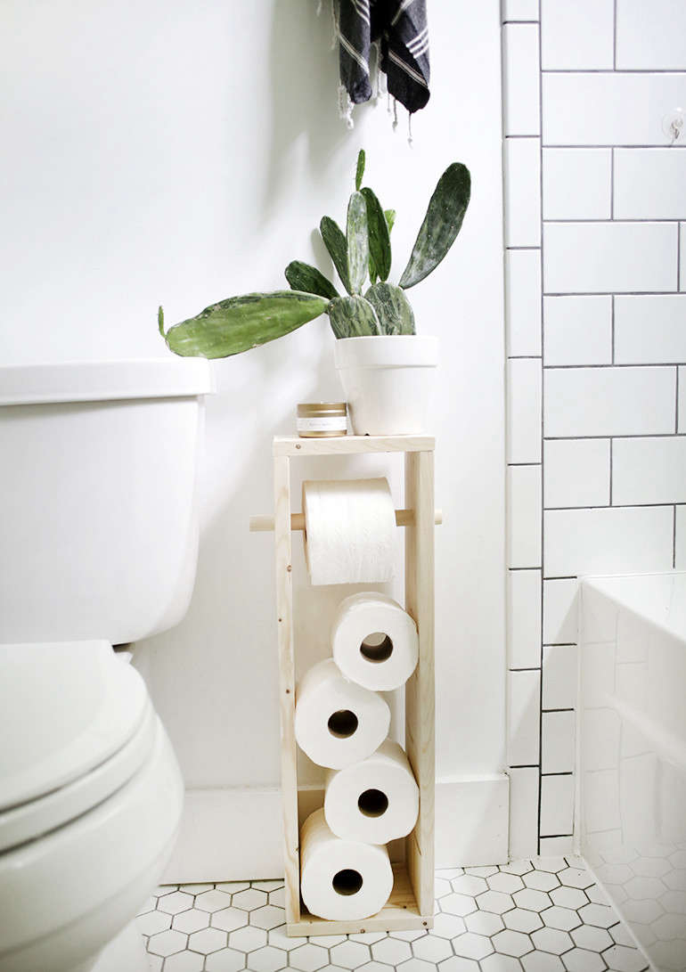 Caitlin devised this DIY Toilet Paper Stand for her grandparents' cabin. It's ideal for small baths short on storage.