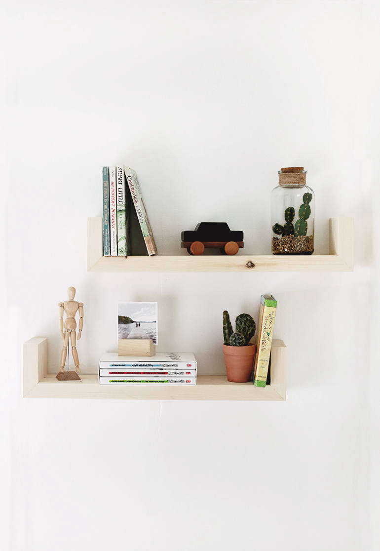 DIY Floating Shelves are made from 2-by-6-by 8 pine boards