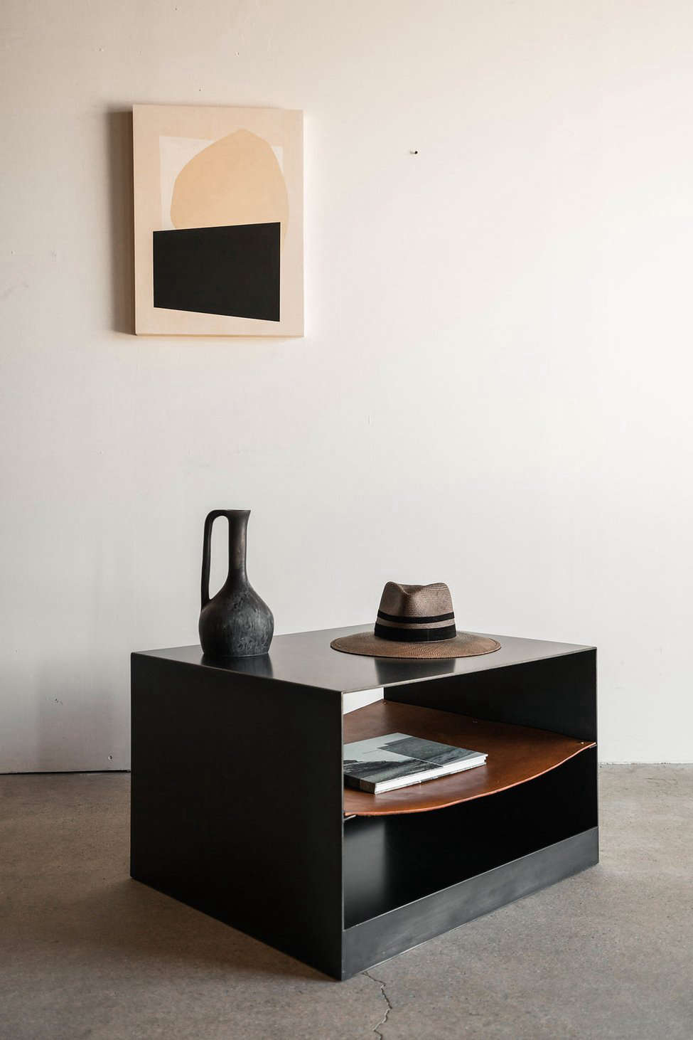 The Latigo Side Table Is Made From Industrial Steel With A Hand Stitched  Leather Shelf