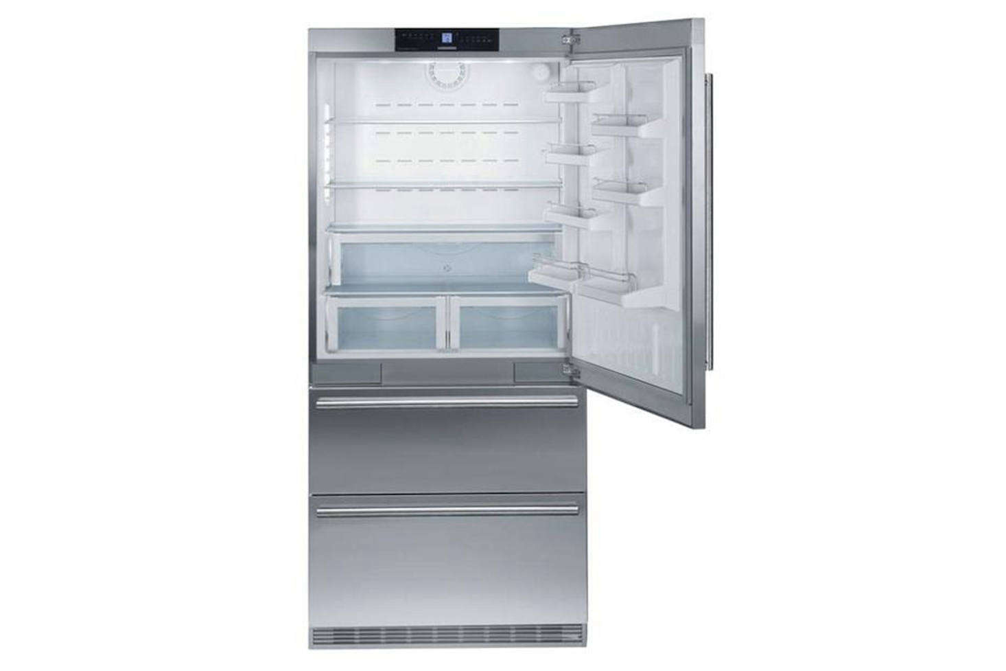 The Leibherr HC-2060 Built-In 36-Inch Refrigerator offers dual-compressor refrigeration at a significantly lower price point than Sub-Zero and Miele; it's Energy Star–rated and has garnered good consumer reviews. The shelving and lighting are not quite at the level of the top brands, but the freezer is conveniently divided into two drawers; $5,349 at Plessers. For more options see our post 10 Easy Pieces: Built-In Refrigerators.