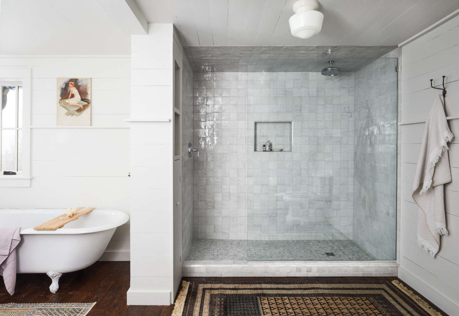 The master bathroom features a generous shower lined in Moroccan tile from Cle's Zellige Collection.