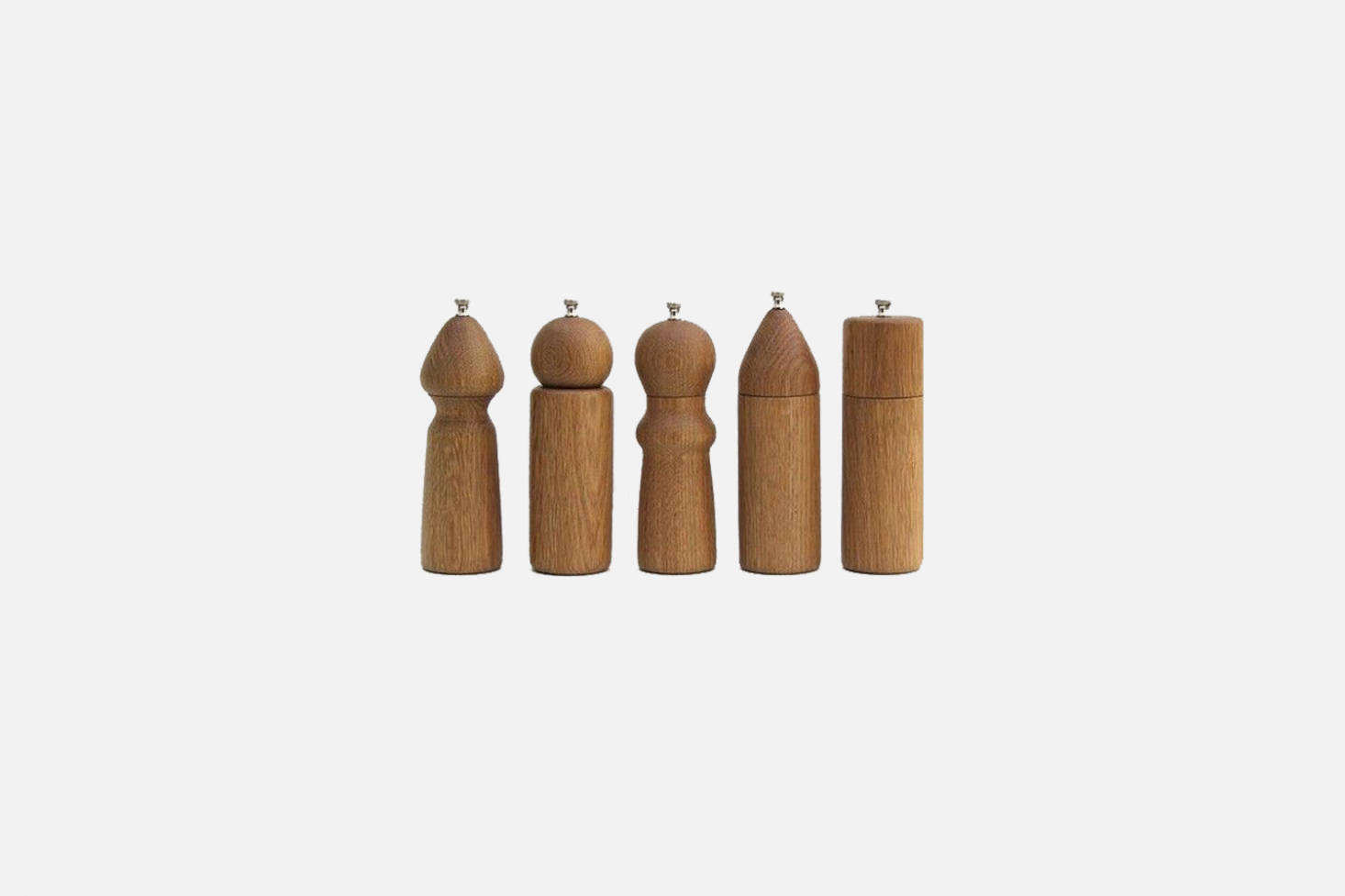 Handmade by De Jong & Co., in LA, these elegant White Oak Salt and Pepper Grinders are available in a variety of shapes and sizes; $150 each from Nickey Kehoe.