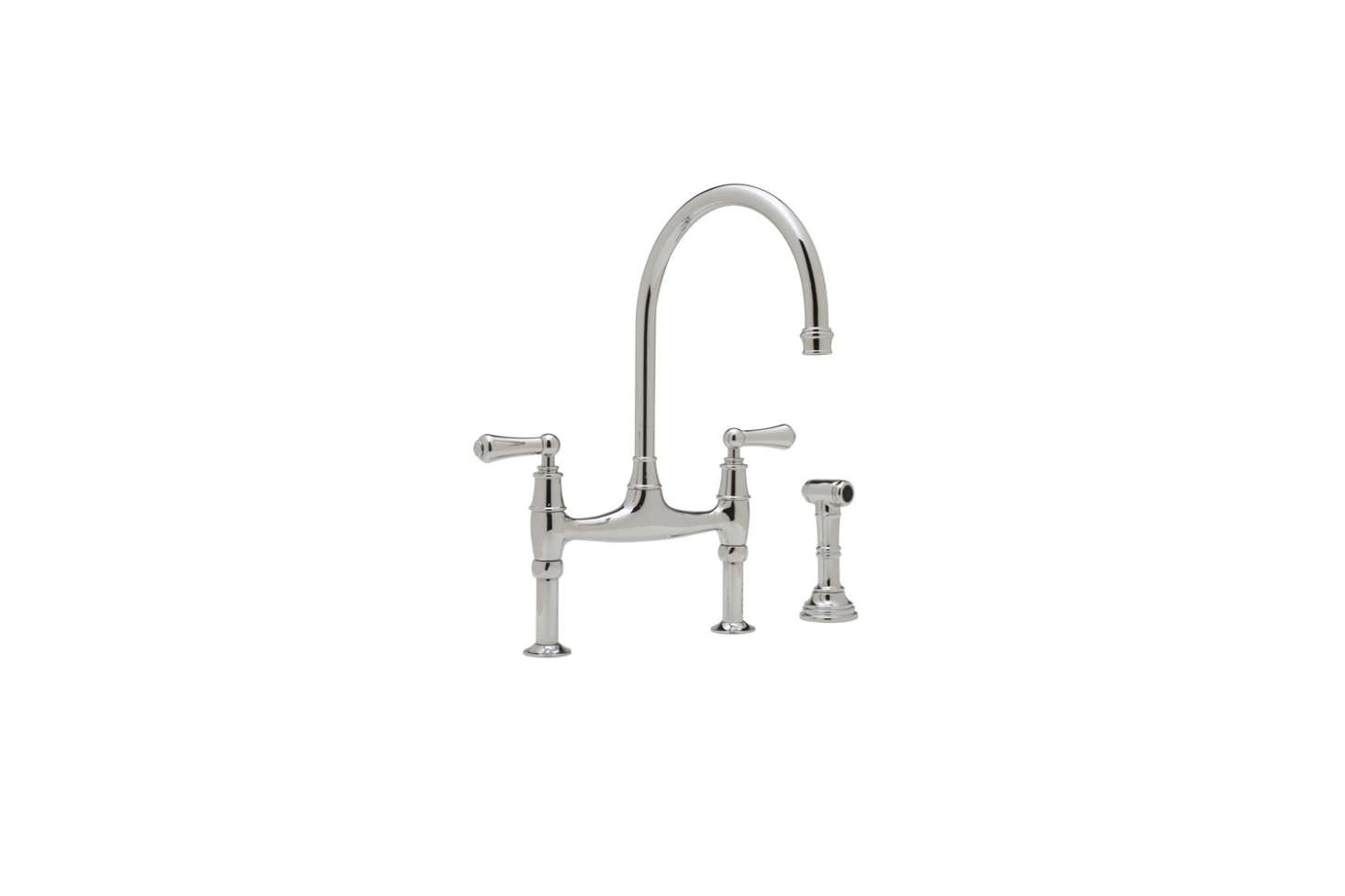 The Perrin & Rowe Bridge Kitchen Faucet with Side Spray (U.4719L-EB-2) in Chrome is $1,317.75 at Faucet Direct.