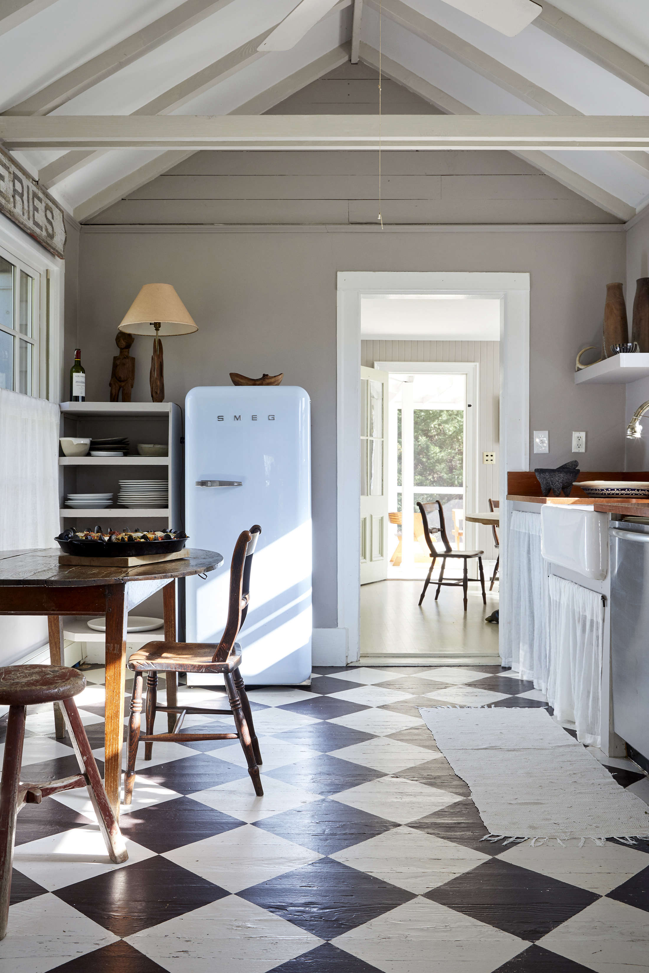 Steal This Look: An Antique Dealer's DIY Kitchen, Painted Checkerboard Floor Included - Remodelista