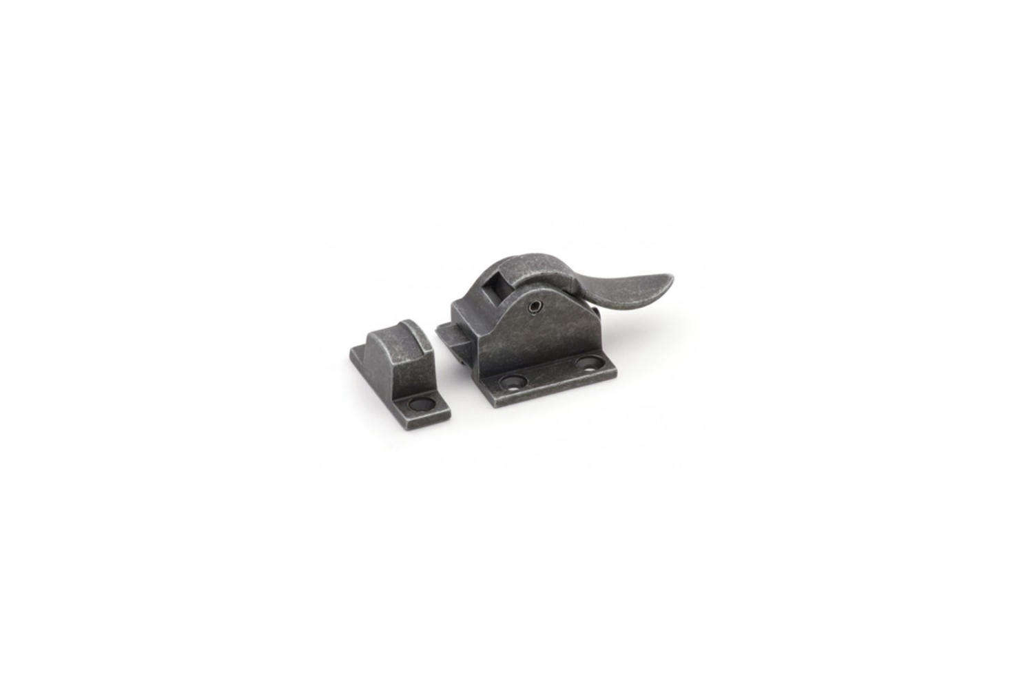 The Cliffside Industries Icebox-Style Cabinet Latch comes in iron (IBCL-IR) , shown, and other finishes for $.99 at Cliffside Industries.