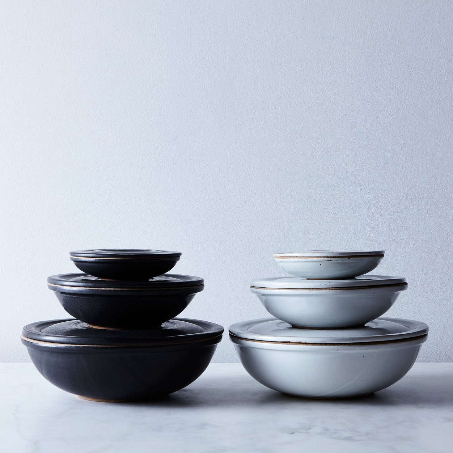 We first got to know Bay Area ceramicist Sarah Kersten when she exhibited at our Remodelista markets; she's since gone on to grow her practice to include dinnerware, fermentation jars, covered bowls, and vases. Her Ceramic Nesting Bowls are $65 for a medium size or $260 for a set of three at Food52.