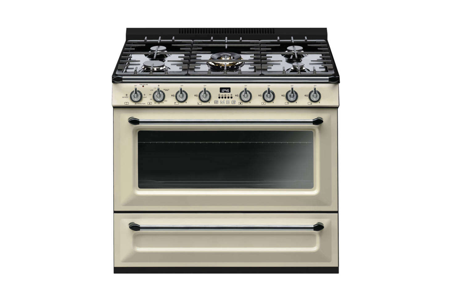 The Smeg Victoria Aesthetic Free-Standing All-Gas 36-Inch Range in Cream Enamel is $4,499 at AJ Madison.