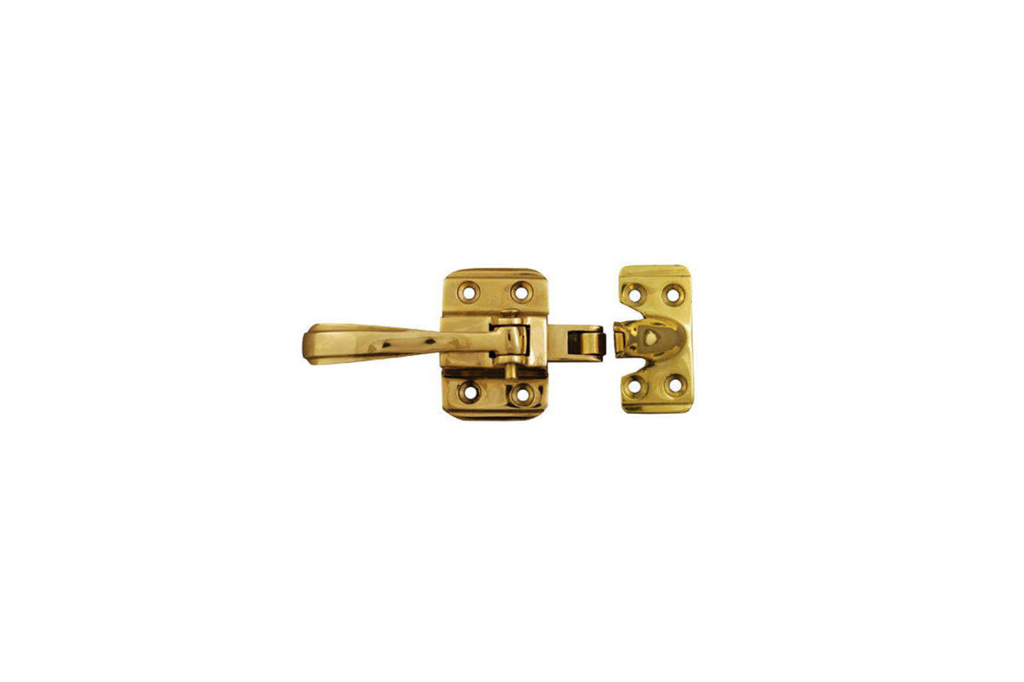 From The Golden Lion, theIce Box Latch MI-30 is made in France and available in polished brass (shown), polished chrome, polished nickel, and antiqued brass; $6.80.