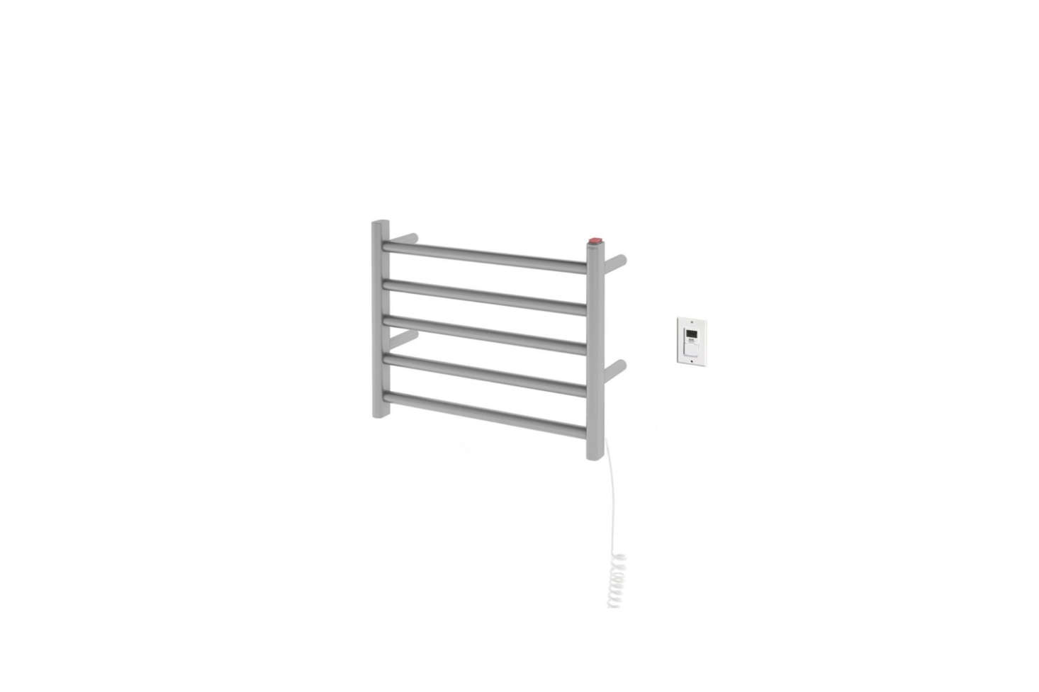 The compact Ancona Prima Dual Hardwired Electric Towel Warmer in Brushed Stainless Steel is $219.99 at The Home Depot.