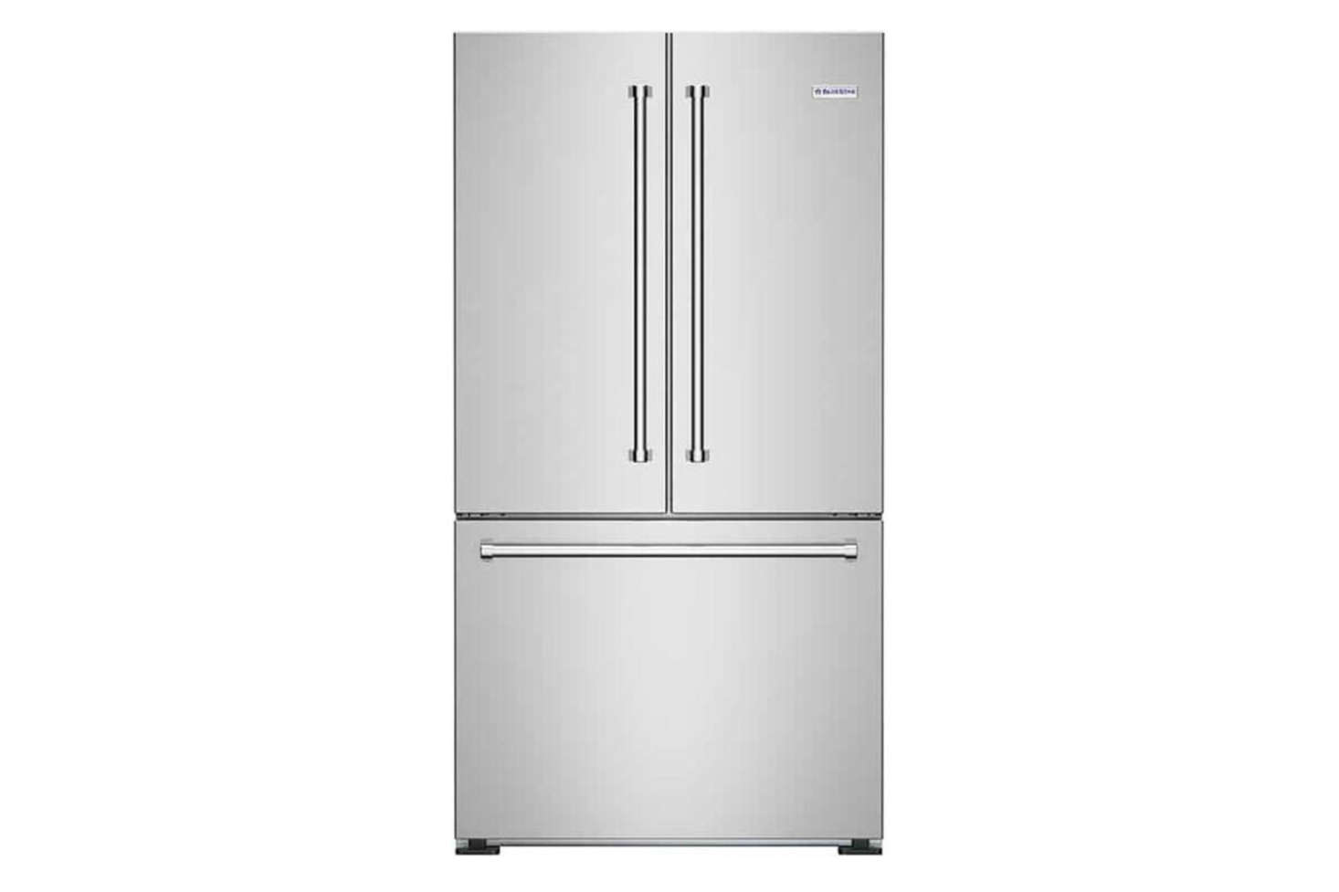 The Bluestar 36-Inch Counter-Depth French Door Refrigerator (FBFD360) is a shallow 26 3/16 inches for $2,995 at Appliances Connection.
