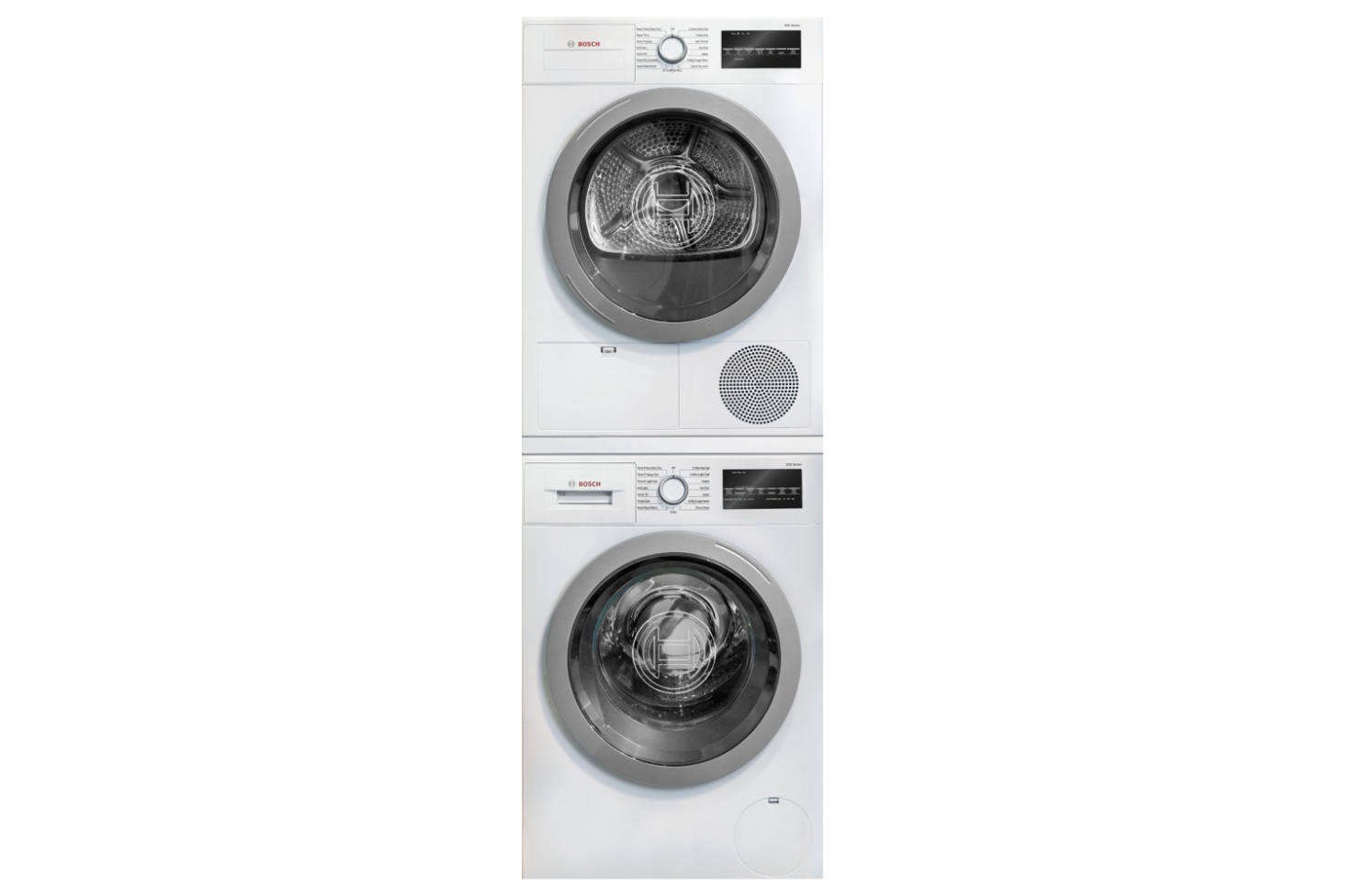 The Bosch 500 Series Stacked Washer & Dryer Set (BOWADREUC3) is $2,282.30 at AJ Madison. For more see our post10 Easy Pieces: Stackable Washer/Dryers.