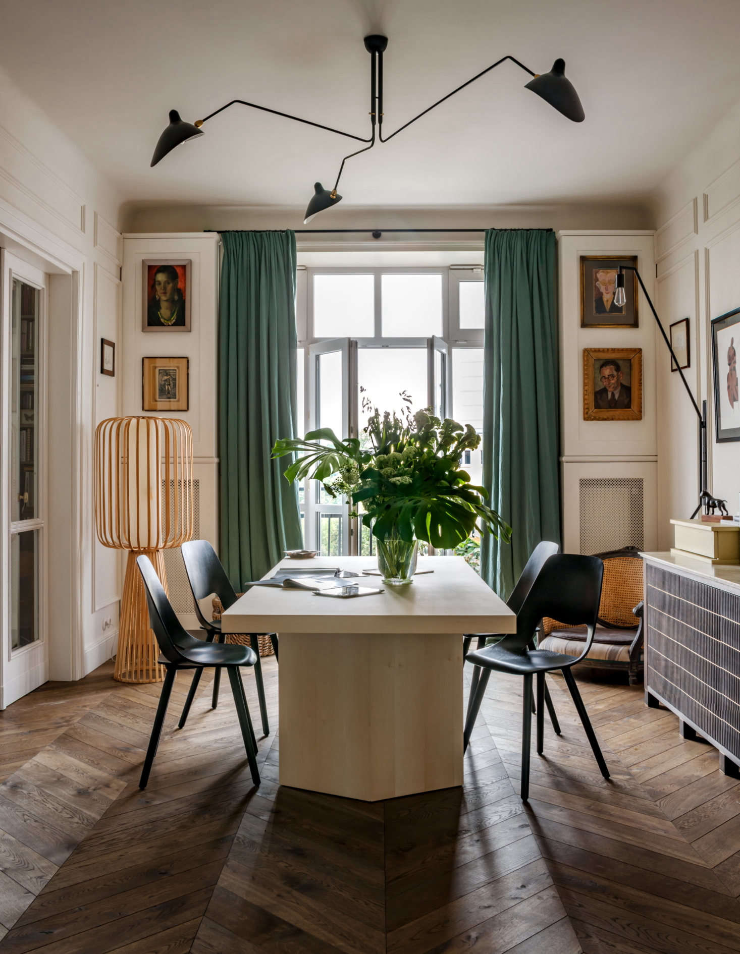 Floor-to-ceiling drapes were made from Fadini Borghi linen by Pierre Frey, the iconic French maker of fabrics and wall coverings. Green is the owner&#8