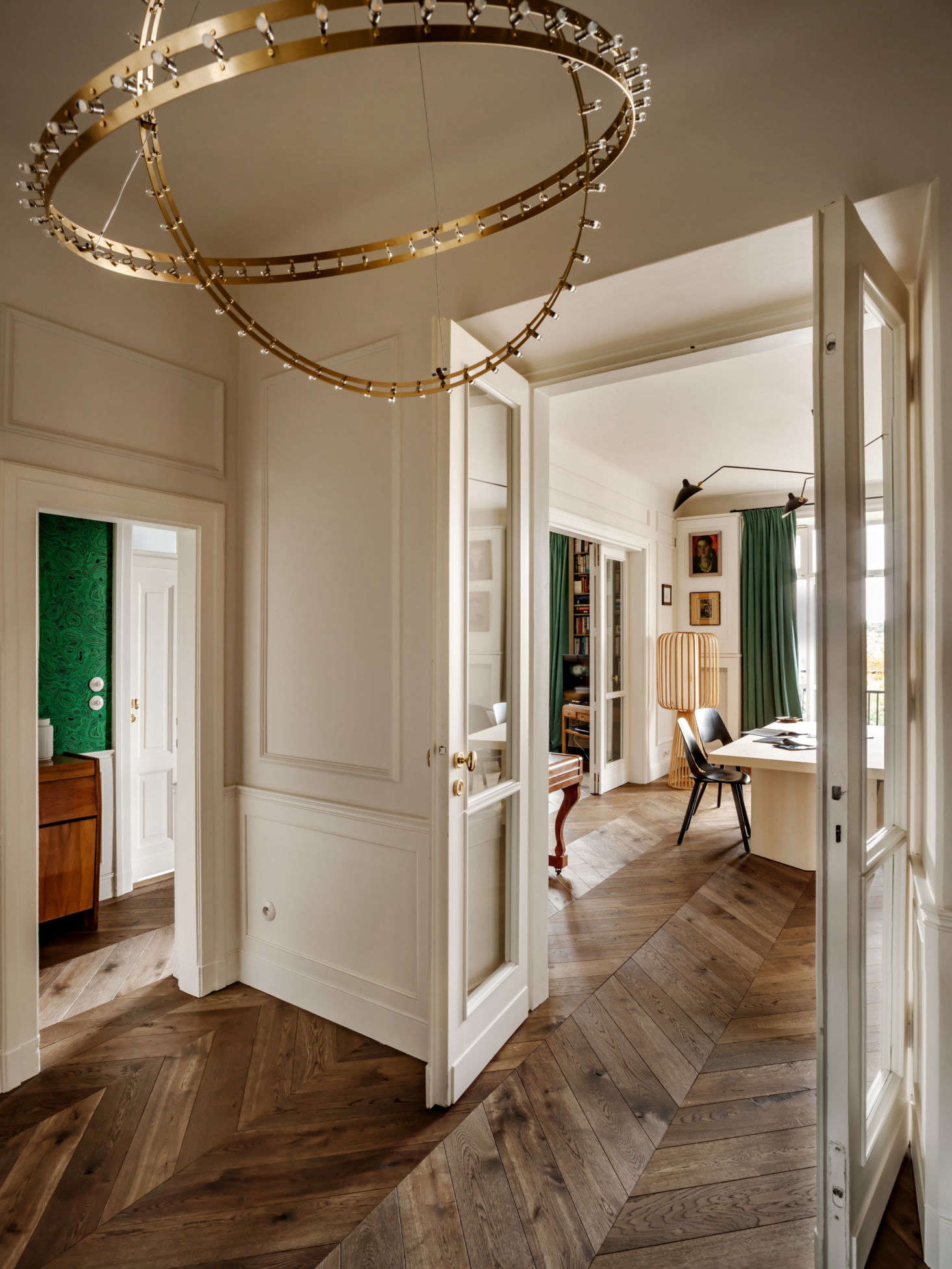 A peek, from the entry, into the dining room. Before Chrapka even thinks about the interior design, she focuses on the layout and fundamentals. &#8